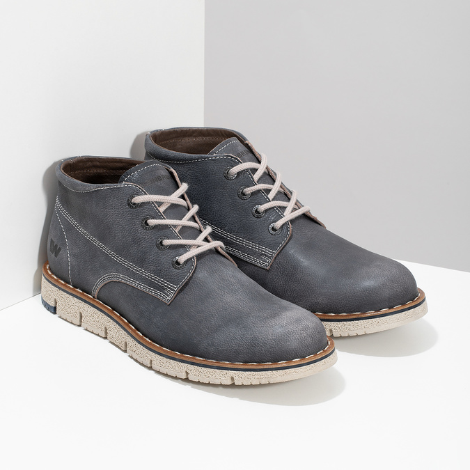 Skórzane obuwie męskie za kostkę weinbrenner, niebieski, 846-2658 - 26