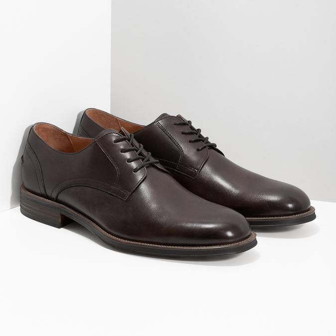 Brązowe skórzane półbuty typu angielki bata, brązowy, 826-4787 - 26
