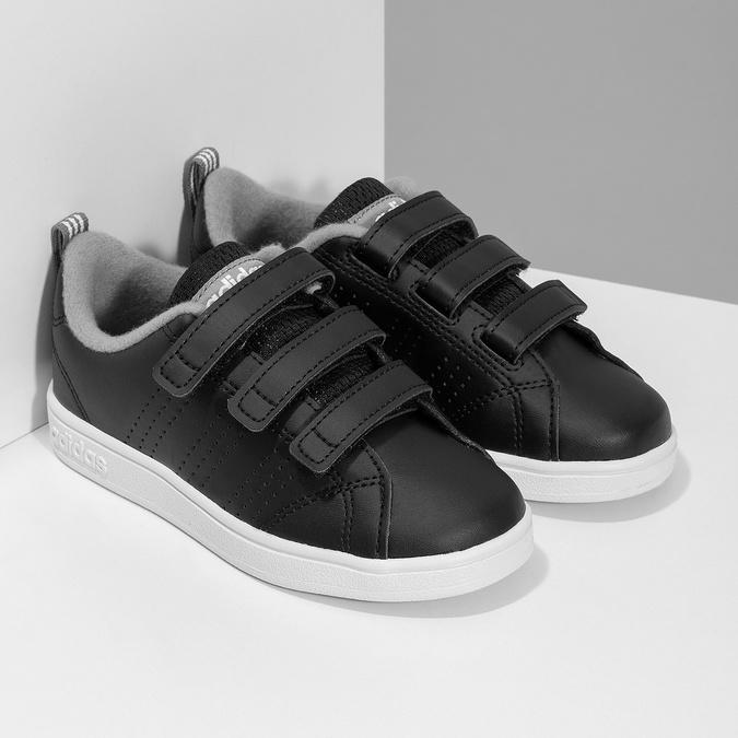 Czarne trampki dziecięce na rzepy adidas, czarny, 301-6268 - 26