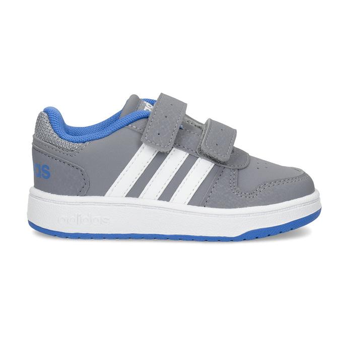 Szare trampki dziecięce zniebieskimi elementami adidas, szary, 101-2194 - 19