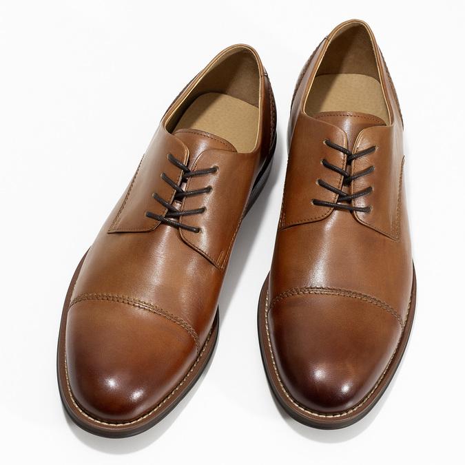 Brązowe skórzane półbuty typu angielki bata, brązowy, 826-3786 - 16