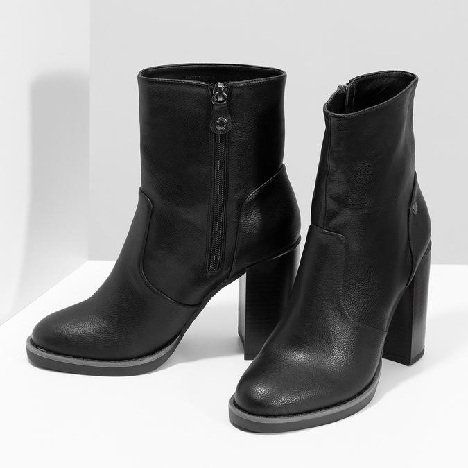 Czarne kozaki damskie na stabilnych słupkach insolia, czarny, 791-6616 - 16