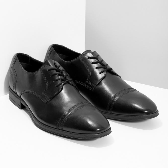 Czarne skórzane półbuty męskie typu angielki bata, czarny, 824-6891 - 26