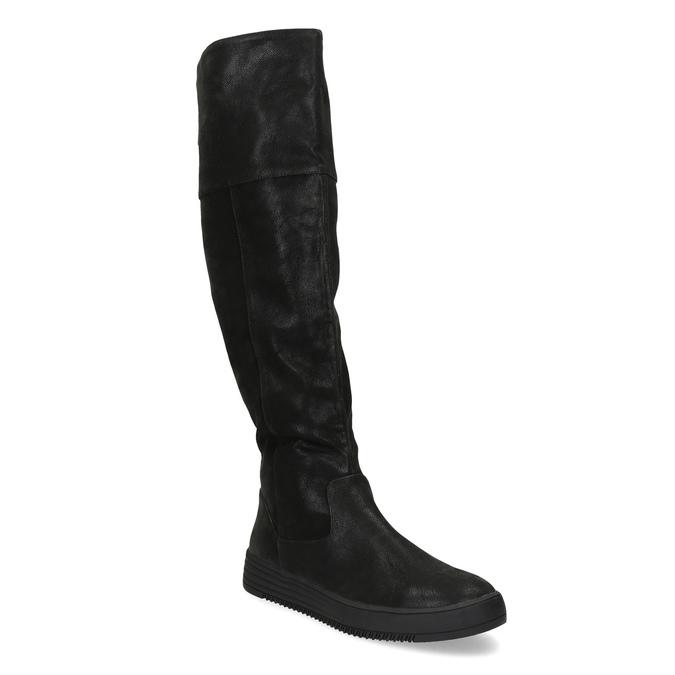 Czarne kozaki damskie zgrubymi zamkami błyskawicznymi bata, czarny, 691-6636 - 13