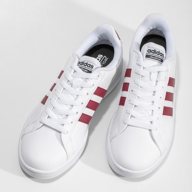 Białe trampki męskie zbordowymi elementami adidas, biały, 801-5378 - 16