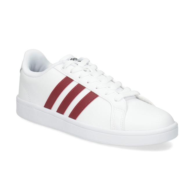 Białe trampki męskie zbordowymi elementami adidas, biały, 801-5378 - 13