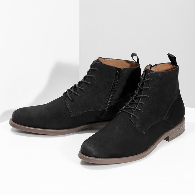 Czarno-brązowe skórzane obuwie męskie za kostkę vagabond, czarny, 826-6153 - 16