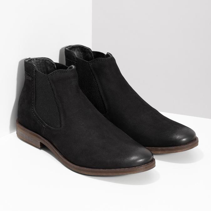 Czarne zamszowe obuwie męskie typu chelsea bugatti, czarny, 819-6025 - 26