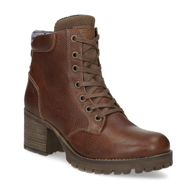 Brązowe skórzane botki zdzianiną bata, brązowy, 696-4665 - 13