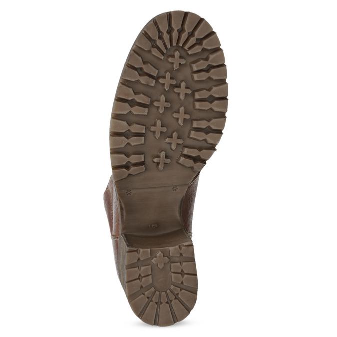 Brązowe skórzane botki zdzianiną bata, brązowy, 696-4665 - 18
