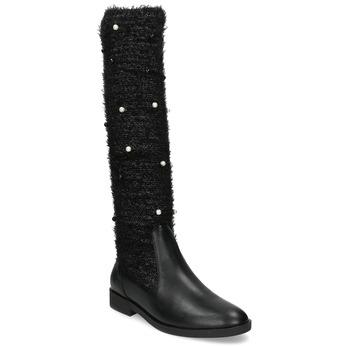 Czarne kozaki zperełkami bata, czarny, 599-6619 - 13