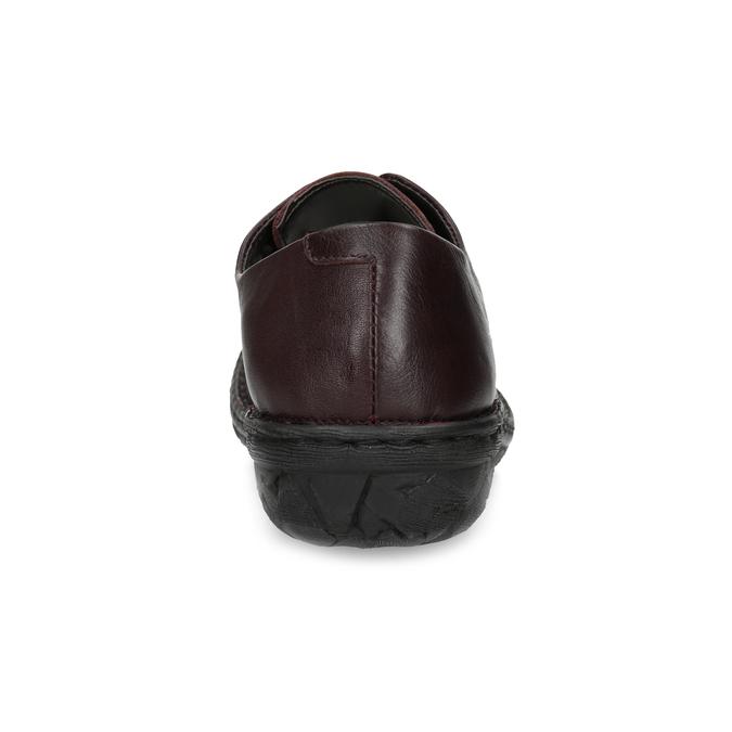 Bordowe nieformalne półbuty damskie ze skóry bata, czerwony, 526-5665 - 15