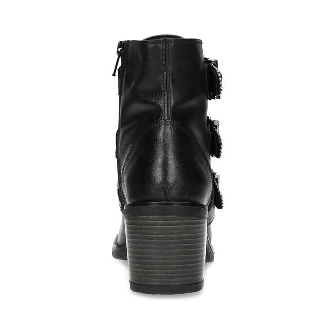 Skórzane botki damskie zklamrami bata, czarny, 694-6670 - 15