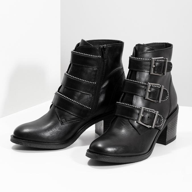 Skórzane botki damskie zklamrami bata, czarny, 694-6670 - 16
