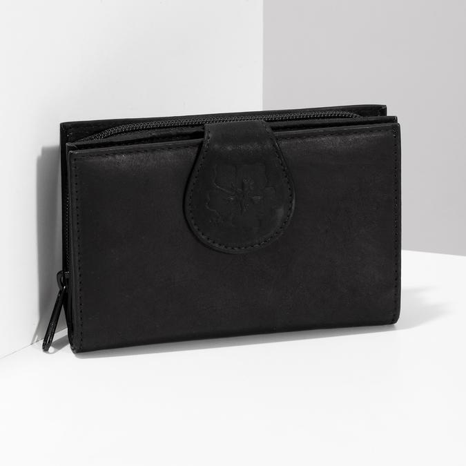 Damski skórzany portfel bata, czarny, 944-6155 - 17
