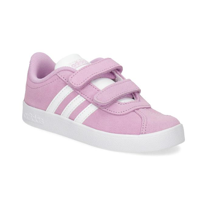 Różowe skórzane trampki dziecięce adidas, różowy, 103-5203 - 13