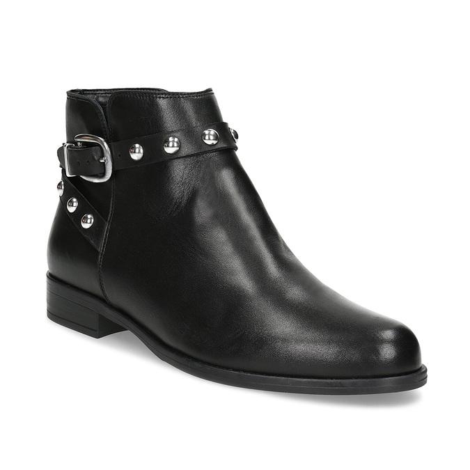 Skórzane botki zmetalowymi ćwiekami bata, czarny, 594-6668 - 13