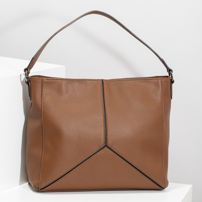 Brązowa torebka damska wstylu hobo bata, brązowy, 961-3922 - 17