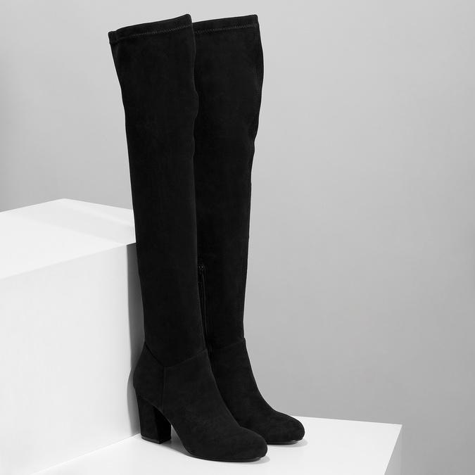 Czarne kozaki damskie za kolana bata, czarny, 799-6638 - 26