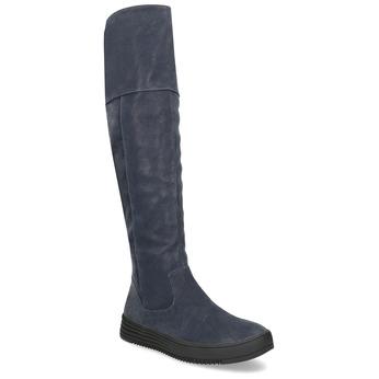 Granatowe kozaki damskie zprzeszyciami bata, niebieski, 691-9636 - 13