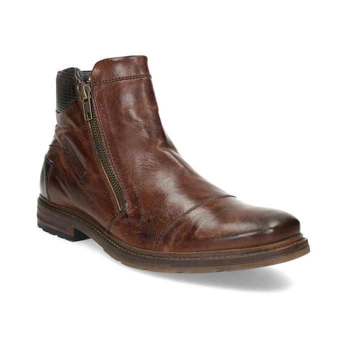 Brązowe skórzane obuwie męskie za kostkę zzamkami błyskawicznymi bugatti, brązowy, 816-4026 - 13