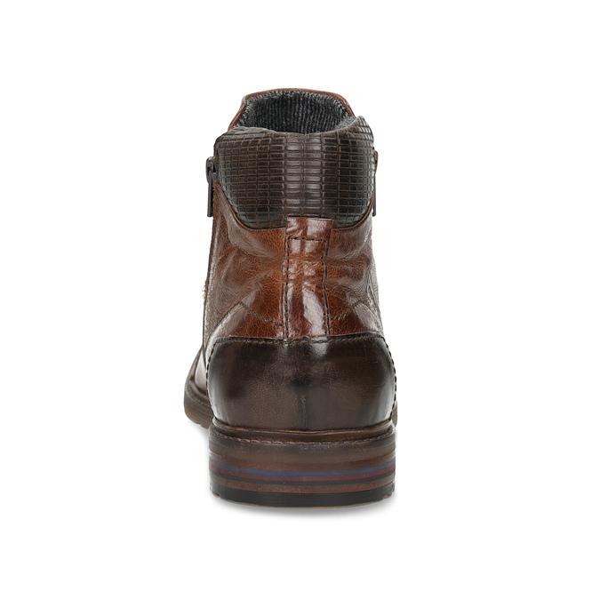 Brązowe skórzane obuwie męskie za kostkę zzamkami błyskawicznymi bugatti, brązowy, 816-4026 - 15