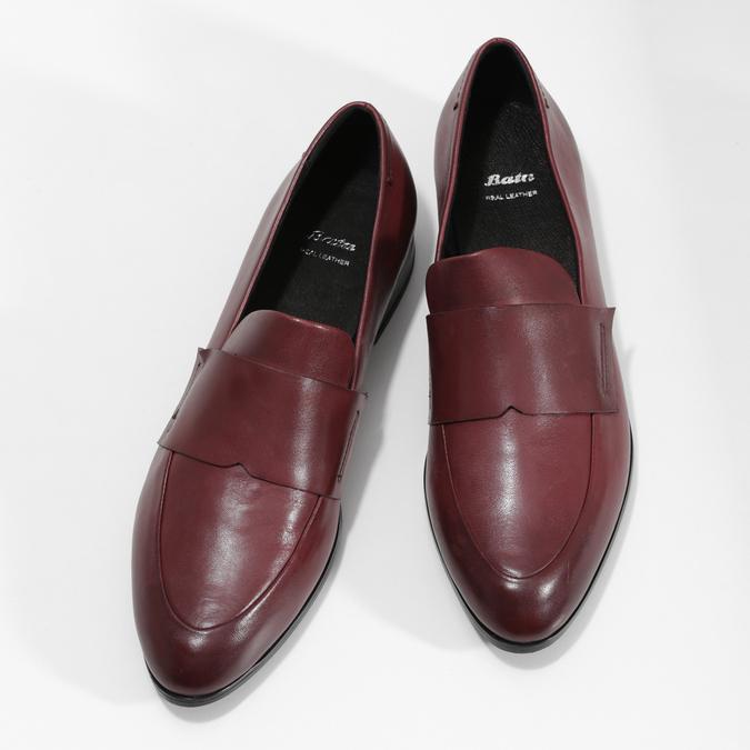Bordowe skórzane mokasyny damskie bata, czerwony, 514-5601 - 16