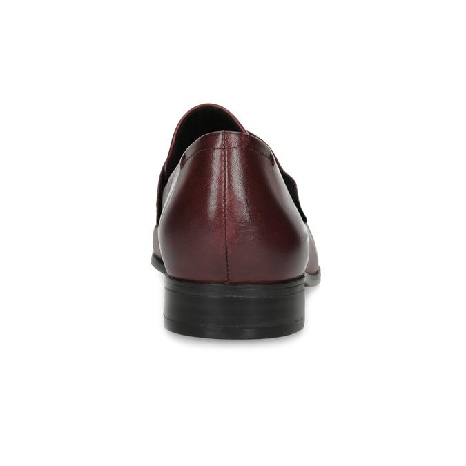 Bordowe skórzane mokasyny damskie bata, czerwony, 514-5601 - 15