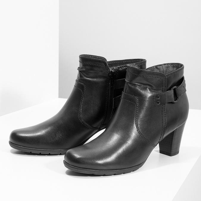 Skórzane botki zklamrami, czarny, 696-6656 - 16