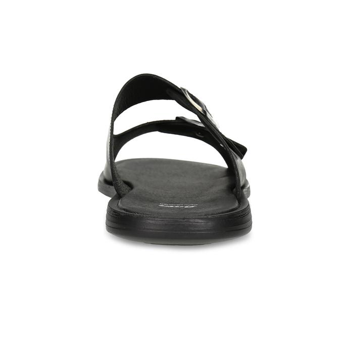 Skórzane klapki męskie zklamrami bata, czarny, 874-6602 - 15