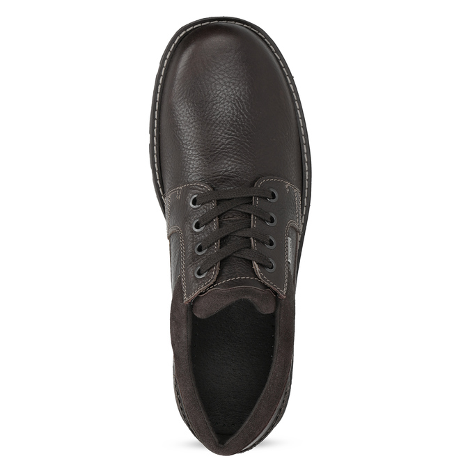 Skórzane półbuty męskie na grubej podeszwie bata, brązowy, 826-4973 - 17