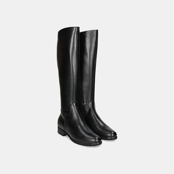 Czarne skórzane kozaki zklamrami bata, czarny, 594-6675 - 26