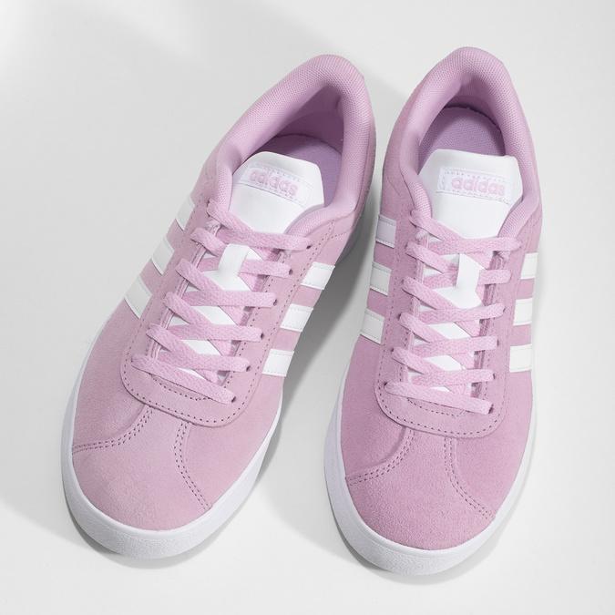 Różowe skórzane trampki dziecięce adidas, różowy, 403-5361 - 16