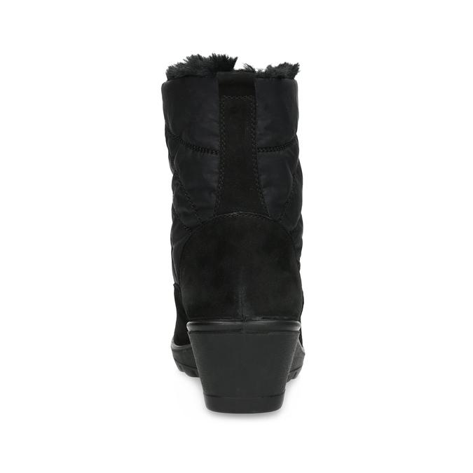 Czarne botki damskie zociepliną comfit, czarny, 699-6645 - 15