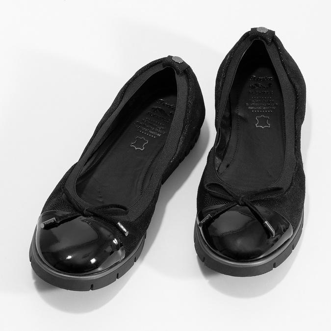 Damskie baletki skórzane czarne flexible, czarny, 526-6663 - 16