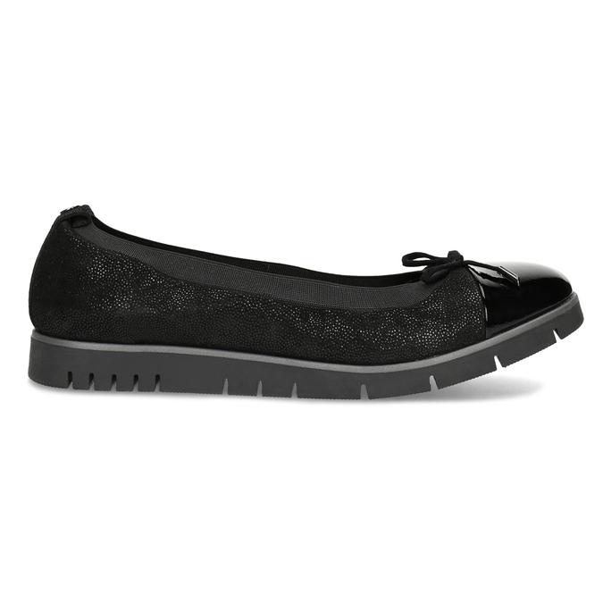 Damskie baletki skórzane czarne flexible, czarny, 526-6663 - 19