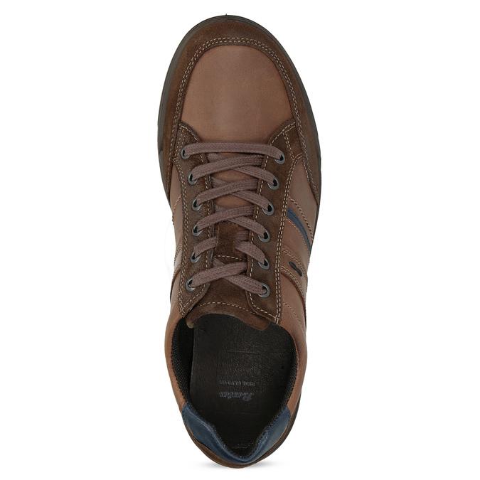 Brązowe skórzane trampki męskie bata, brązowy, 846-4714 - 17
