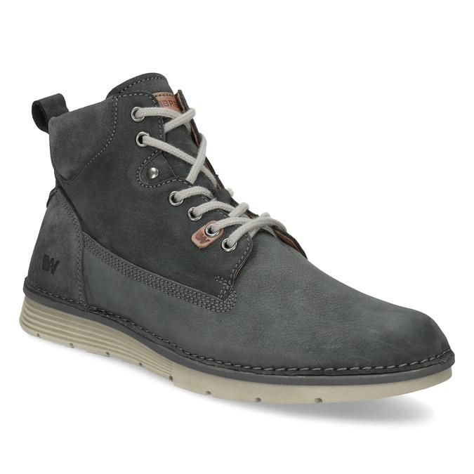 Skórzane obuwie męskie za kostkę, zprzeszyciami weinbrenner, szary, 846-6719 - 13