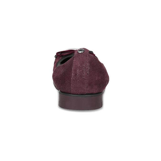 Damskie baletki skórzane bordowe flexible, czerwony, 526-5663 - 15