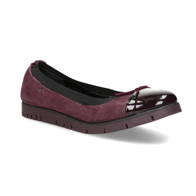 Damskie baletki skórzane bordowe flexible, czerwony, 526-5663 - 13