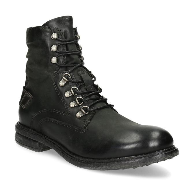 Czarne skórzane trzewiki męskie bata, czarny, 896-6743 - 13