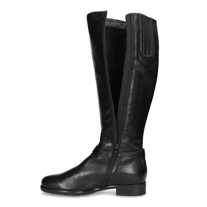 Czarne skórzane kozaki damskie bata, czarny, 594-6676 - 17