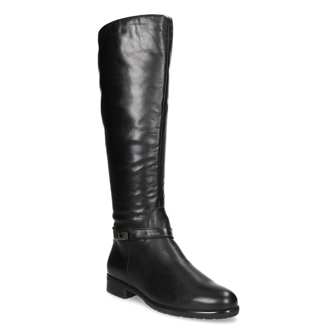 Czarne skórzane kozaki damskie bata, czarny, 594-6676 - 13