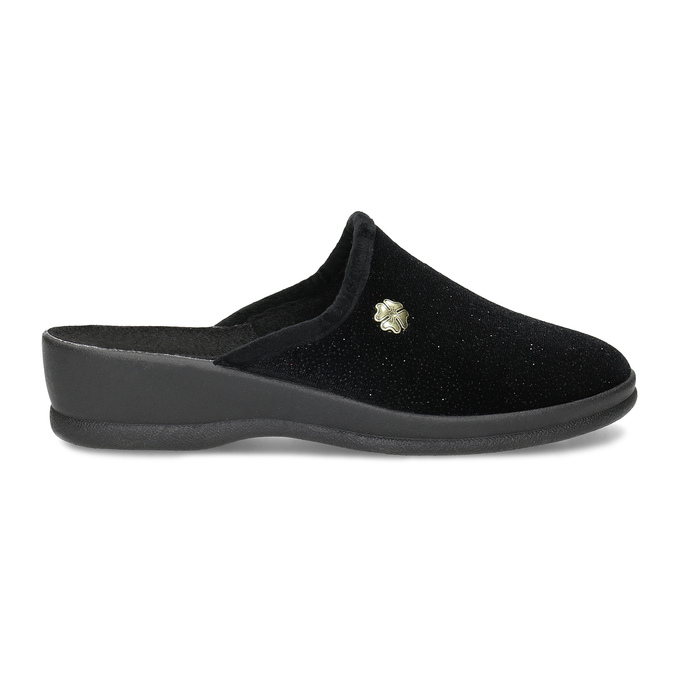 Czarne kapcie damskie bata, czarny, 579-6631 - 19