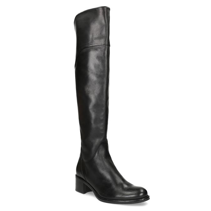 Czarne skórzane kozaki za kolana bata, czarny, 694-6666 - 13