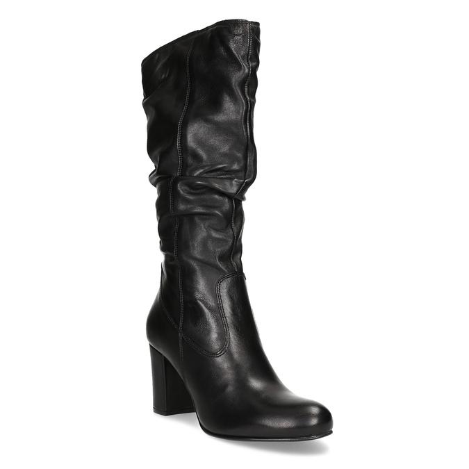 Skórzane kozaki damskie zpomarszczoną cholewką bata, czarny, 794-6664 - 13