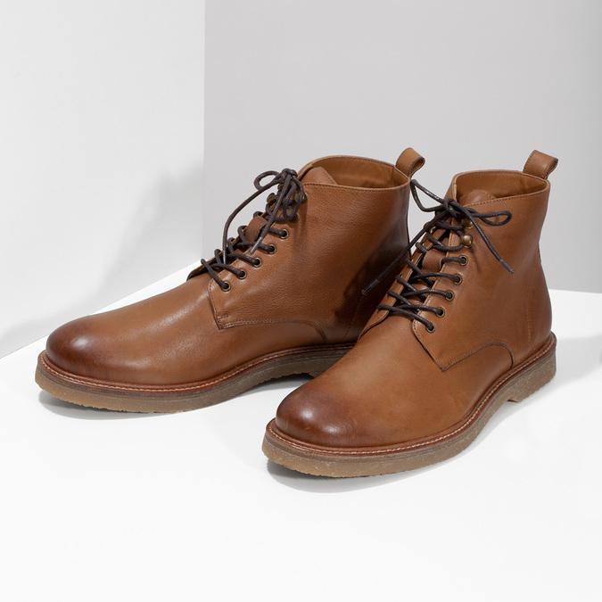 Brązowe skórzane obuwie męskie za kostkę bata, brązowy, 896-3721 - 16