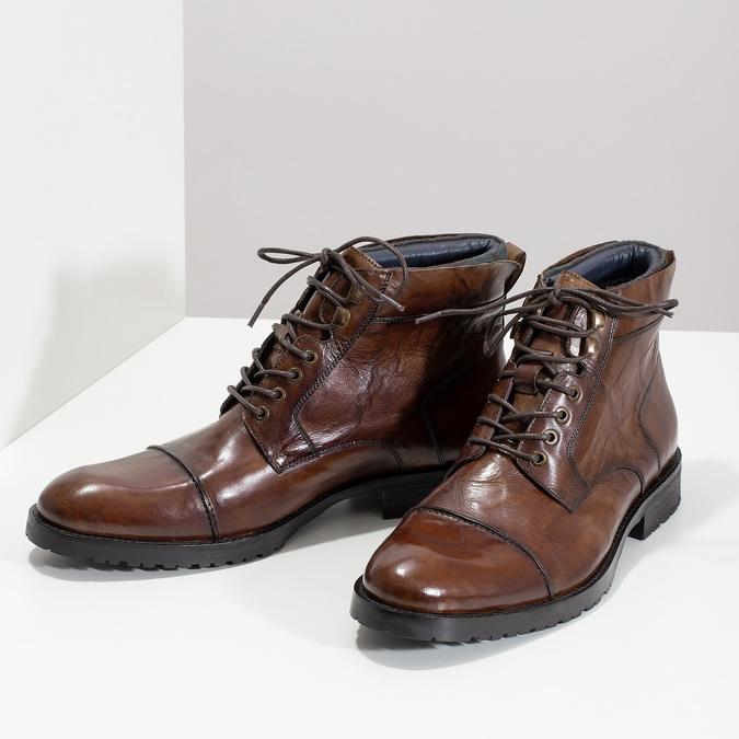 Brązowe błyszczące obuwie męskie za kostkę bata, brązowy, 896-3720 - 16