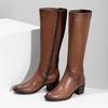 Brązowe skórzane kozaki damskie bata, brązowy, 694-4668 - 16