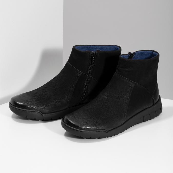 Skórzane botki damskie bata, czarny, 596-6706 - 16